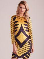 Żółta aksamitna sukienka we wzory                                  zdj.                                  1