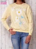 Żółta bluza z nadrukiem kwiatowym i napisem                                  zdj.                                  1