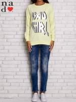 Żółta bluza z napisem BAD GIRL                                  zdj.                                  2