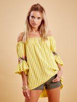 Żółta bluzka hiszpanka w paski z kwiatowymi wstawkami                                  zdj.                                  1