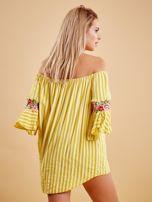 Żółta bluzka hiszpanka w paski z kwiatowymi wstawkami                                  zdj.                                  2