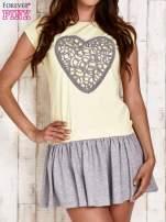 Żółta dresowa sukienka tenisowa z sercem