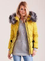 Żółta kurtka zimowa z futerkiem                                  zdj.                                  6