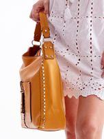 Żółta miękka torba na ramię z ćwiekami                                  zdj.                                  5