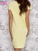 Żółta sukienka dresowa ze złotym napisem TOUCH                                  zdj.                                  4