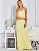 Żółta sukienka maxi z wiązaniem na szyi                                  zdj.                                  4