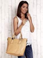 Żółta torba shopper ze stębnowaniem                                  zdj.                                  1