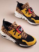 Żółte buty sportowe na podwyższeniu z kolorową podeszwą i motywem w panterkę                                  zdj.                                  5