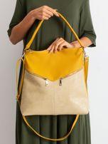 Żółto-beżowa torba z odpinanym paskiem                                  zdj.                                  1
