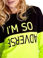 Żółto-czarna bluza z napisem I'M SO ADVERSE                                  zdj.                                  5