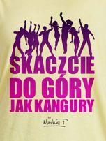 Żółty t-shirt damski DO GÓRY JAK KANGURY by Markus P                                  zdj.                                  2
