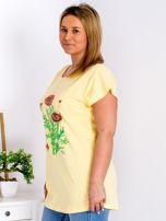 Żółty t-shirt z kwiatowym printem PLUS SIZE                                  zdj.                                  5