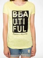 Żółty t-shirt z nadrukiem BEAUTIFUL                                  zdj.                                  7