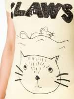 Żółty t-shirt z nadrukiem kota i myszy                                  zdj.                                  7