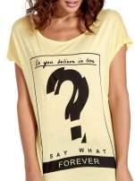 Żółty t-shirt z napisem DO YOU BELIEVE IN LOVE?